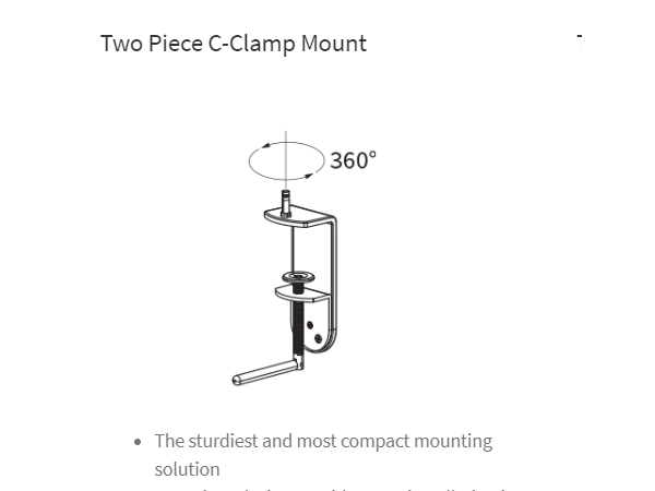 Astra C-Clamp Mount, Workrite